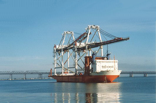 Dock Express 10 arrives with 2 Mitsui container cranes